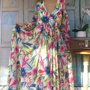 Haoduoyi Tropical Print Full length Dress